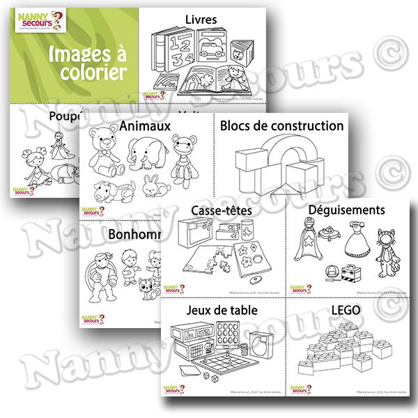 Pictogrammes pour aider lors du rangement des jouets. (Petit format 1/4 de page à colorier)