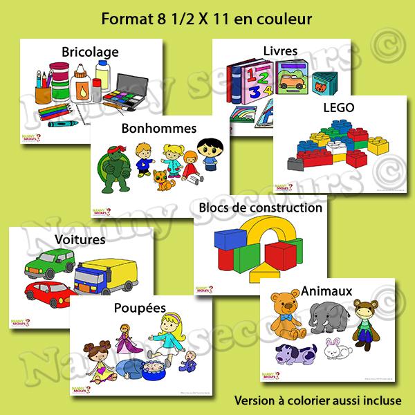 Pictogrammes pour aider lors du rangement des jouets. (8 1/2 X 11)